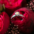 Wedding rings and roses bouquet — Stock Photo #41352911