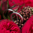 Wedding rings and roses bouquet — Stock Photo #41352917