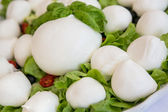 Mozzarella with tomatos and basil leaves — Stock Photo