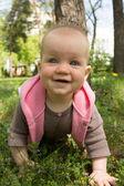Bebé jugando en el parque en el césped en un día soleado — Foto de Stock