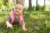 Little baby playing in the park on the grass on a sunny day — Stock Photo