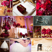 Collage of wedding pictures decorations in red colour — Stock Photo