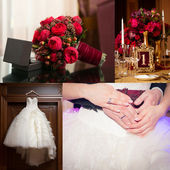 Collage of wedding pictures decorations — Stock Photo
