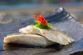 Steamed organic fish fillet  — Stock Photo