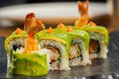 レストラン天ぷらロール有機寿司 — ストック写真