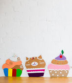 Colored cakes handmade of paper on white background — Stockfoto
