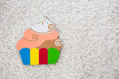Colored cake handmade of paper on white background — Stockfoto