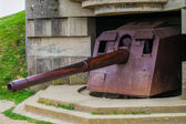 Old broken German bunkers of Atlantic Wall and artillery battery — Stock Photo