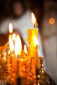 Yellow church candles. original background — Zdjęcie stockowe