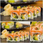 Collage close-up shot of traditional fresh japanese sushi rolls — Stock Photo