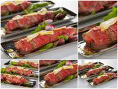 Beef carpaccio with salad leaves and vegetabales. tasty appetize — Stock Photo