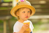 Cute Toddler Girl Eating Ice-Cream — Stock Photo