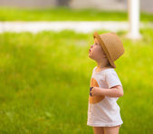 Portrait of a Cute Toddler girl in a funny hat — Stock Photo