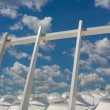Part of the football stadium on a sky with clouds — Stock Photo #49265639