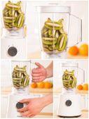 Weißer mixer mit kiwi auf einem holztisch — Stockfoto