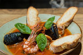 Risotto with mussels, prawns and seafood — Stock Photo