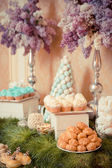 Sweets on the wedding table. Vintage color. — Stock Photo