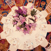Festive table decoration in Lilac colours. — Stok fotoğraf