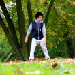 Stock Video: Breakdancer in park