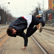 Breakdancer dancing in the city — Stock Photo