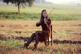 Girl playing the violin — Foto Stock