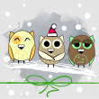 Three cute owls and snow — Stock Vector