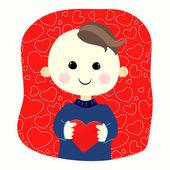Niño con corazón — Vector de stock
