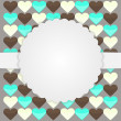 Brown card template with hearts — Stock Vector