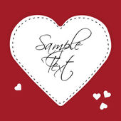 White paper heart on a red background — Vector de stock