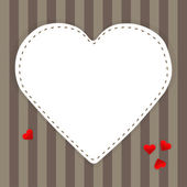 White paper heart on a stripped background — Vector de stock