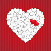 Big white heart with two red hearts — Vector de stock