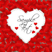 Big white paper heart on a background made of small red hearts — Vector de stock