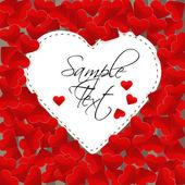 Wielkie serce białego papieru na tle z małych czerwonych serc — Wektor stockowy