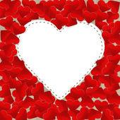 Duży biały papier serce małe czerwone serca — Wektor stockowy