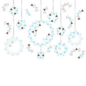 Blue and brown Christmas balls on a white background — Stock vektor