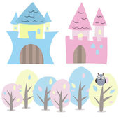 Castle and trees vector set — Stock Vector