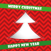 Christmas card with red Christmas tree — Vecteur