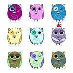 Colorful set Christmas owls — Stock Vector #39860575