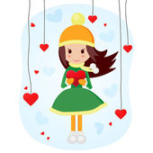 Cute girl with big heart — Stock Vector