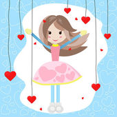 Cute girl with many red hearts — Stock Vector