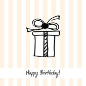Cute happy birthday card with present box — Stock Vector