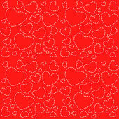 Cute red seamless texture with white hearts — Stock Vector