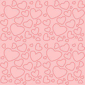Cute pink seamless texture with red hearts — Stock Vector