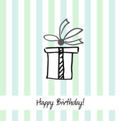 Cute striped happy birthday card with present box — Vettoriale Stock