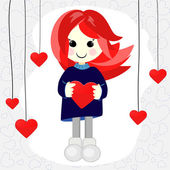 Cute Valentine girl with red hair — Stock Vector
