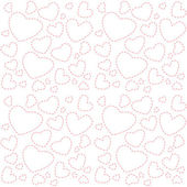 Cute white seamless texture with pink hearts — Vector de stock