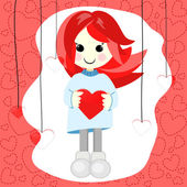 Girl with red hair and heart — Stock Vector