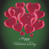 Many red hearts on a green background Valentines Day card — Stock Vector