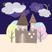 Night castle with trees — Stock Vector