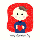Valentines Day postcard with boy — Stock Vector